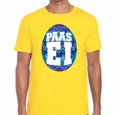 Paasei t-shirt geel met blauw ei voor heren