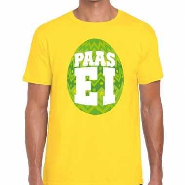 Paasei t-shirt geel met groen ei voor heren