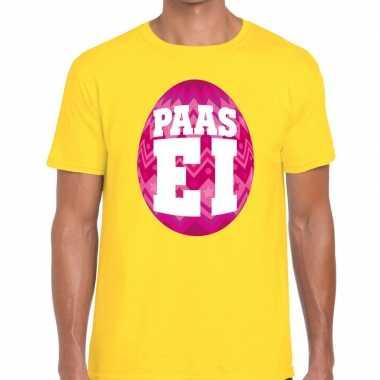 Paasei t-shirt geel met roze ei voor heren