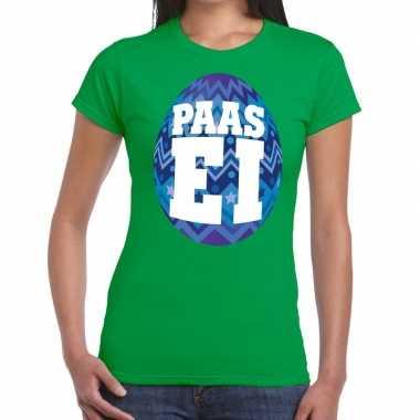 Paasei t-shirt groen met blauw ei voor dames