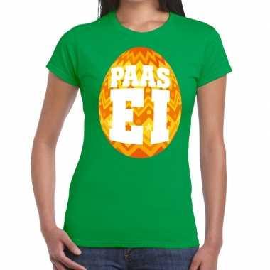 Paasei t-shirt groen met oranje ei voor dames