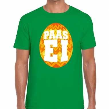 Paasei t-shirt groen met oranje ei voor heren