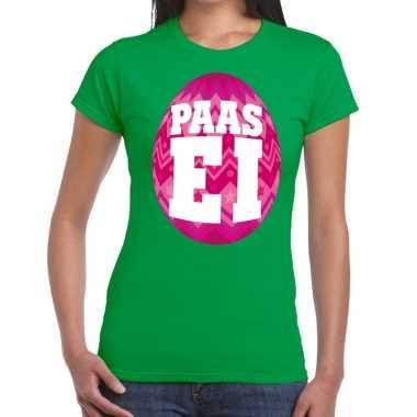 Paasei t-shirt groen met roze ei voor dames