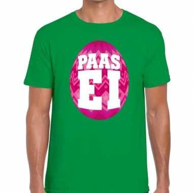 Paasei t-shirt groen met roze ei voor heren