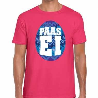 Paasei t-shirt roze met blauw ei voor heren