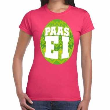 Paasei t-shirt roze met groen ei voor dames