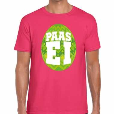 Paasei t-shirt roze met groen ei voor heren