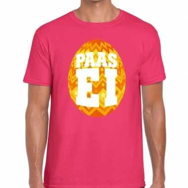 Paasei t-shirt roze met oranje ei voor heren