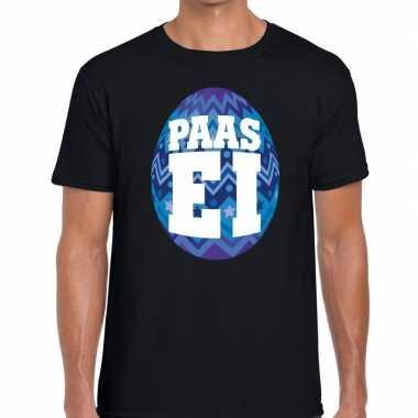 Paasei t-shirt zwart met blauw ei voor heren