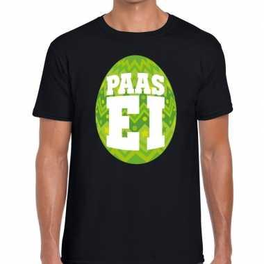 Paasei t-shirt zwart met groen ei voor heren