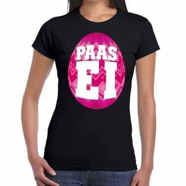Paasei t-shirt zwart met roze ei voor dames