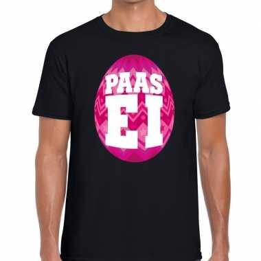 Paasei t-shirt zwart met roze ei voor heren