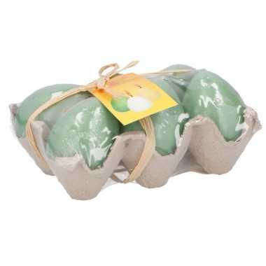 Paaseieren kaarsjes groen in eierdoos 6 stuks