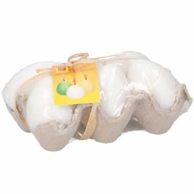 Paaseieren kaarsjes wit in eierdoos 6 stuks