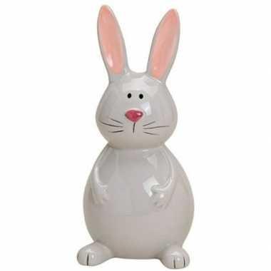 Paashaas/konijn decoratie beeldje grijs 18 cm
