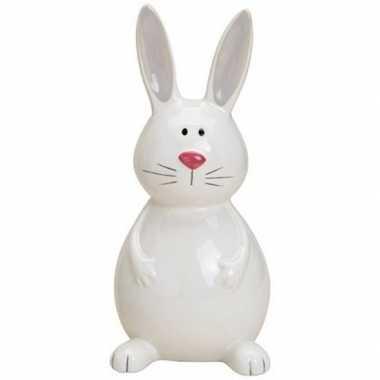 Paashaas/konijn decoratie beeldje wit 18 cm