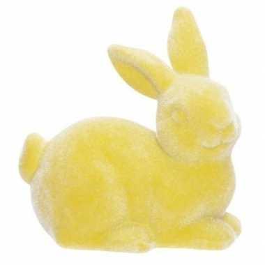 Paashaas/konijn decoratie figuur/beeld geel 6 cm