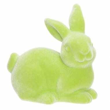 Paashaas/konijn decoratie figuur/beeld groen 9 cm