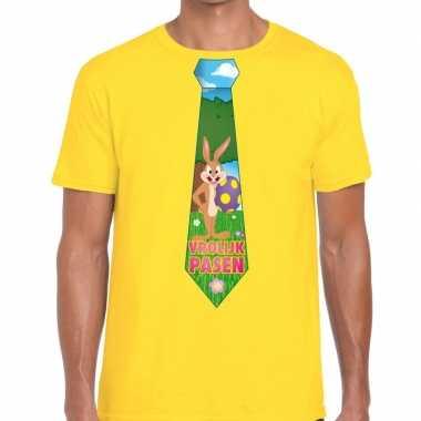 Paashaas stropdas vrolijk pasen t-shirt geel voor heren