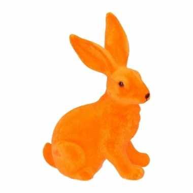 Paasontbijt grote oranje paashaas tafeldecoratie 23 cm