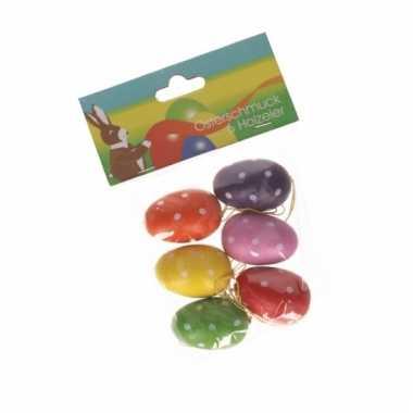 Paastak versiering eieren gekleurd 6 stuks