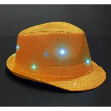 Pailletten hoedje oranje met led licht