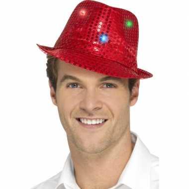 Pailletten hoedje rood met led lichtjes