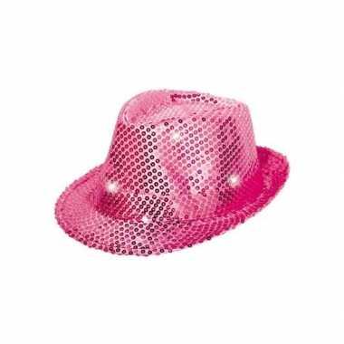 Pailletten hoedje roze met led licht