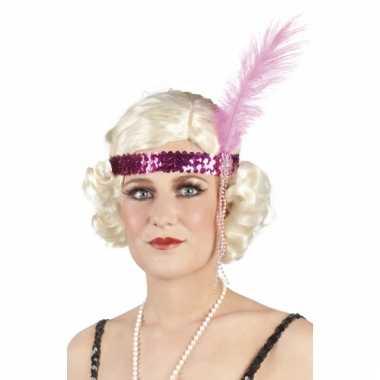Pailletten hoofdband roze met veer
