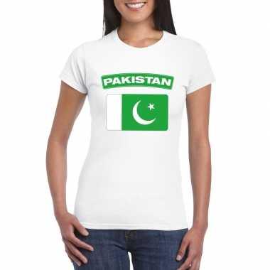 Pakistaanse vlag shirt wit dames
