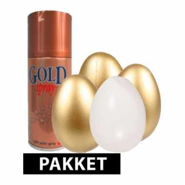 Pakket met plastic eieren 10 cm en goud spray 4x