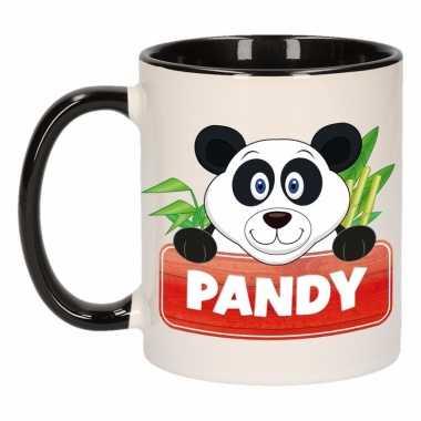 Pandabeer ontbijtbeker zwart / wit voor kinderen 300 ml