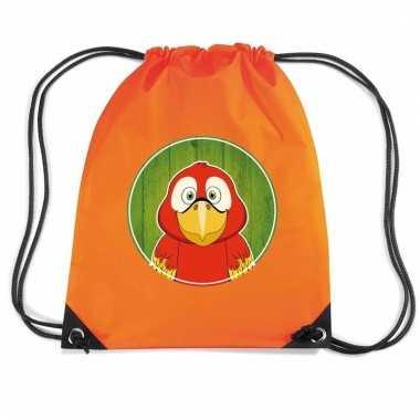 Papegaaien rugtas / gymtas oranje voor kinderen