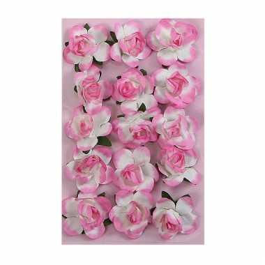 Papieren decoratie bloemen roze 1,5 cm