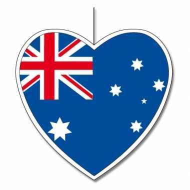Papieren hart in australische kleuren 14 cm