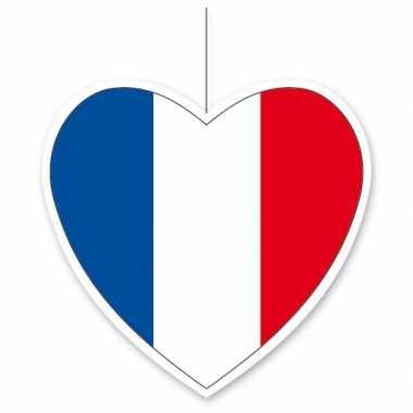 Papieren hart in franse kleuren 14 cm