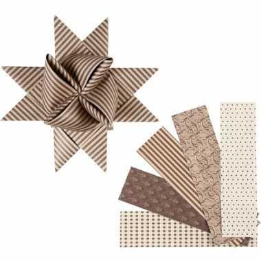 Papieren vouw stroken bruin/beige 40 stuks