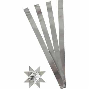 Papieren vouw stroken zilver 73 cm