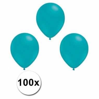 Party ballonnen turquoise 100 stuks