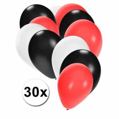Party ballonnen zwart-rood-wit