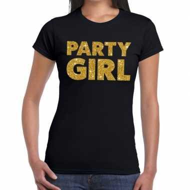 Party girl glitter tekst t-shirt zwart dames
