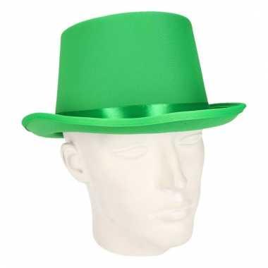 Party hoge hoedje groen van vilt
