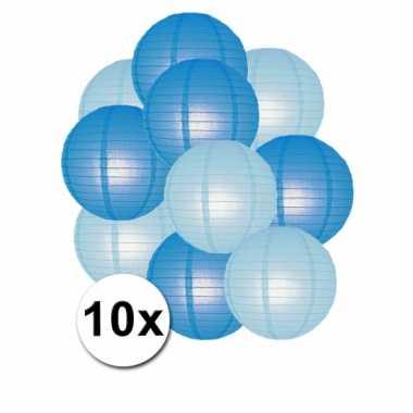 Party lampionnen blauw en lichtblauw 10x