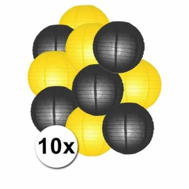 Party lampionnen geel en zwart 10x