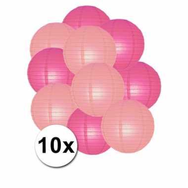 Party lampionnen roze en lichtroze 10x