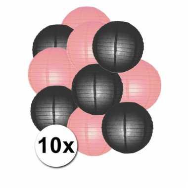 Party lampionnen roze en zwart 10x