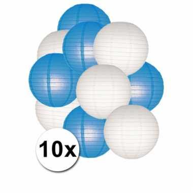 Party lampionnen wit en blauw 10x