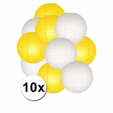 Party lampionnen wit en geel 10x