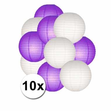 Party lampionnen wit en paars 10x