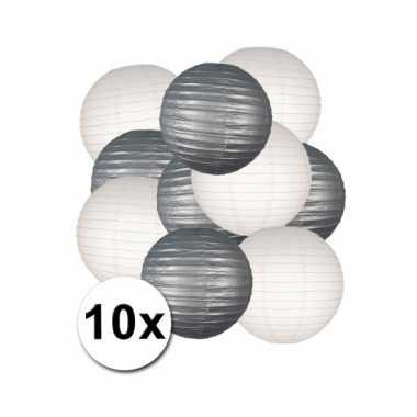 Party lampionnen wit en zilver 10x